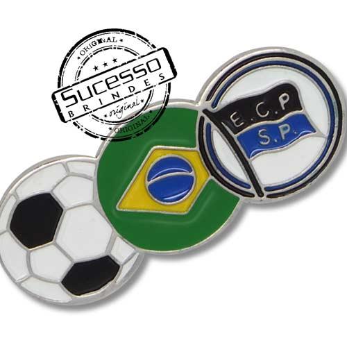 Pin, em metal de Lapela, botton, broche com alfinete, com trava borboleta personalizado, bandeira, bola, futebol, esporte