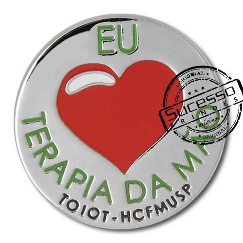 Pin, em metal de Lapela, botton, broche com alfinete, com trava borboleta personalizado, coração, love, eu amo, amor
