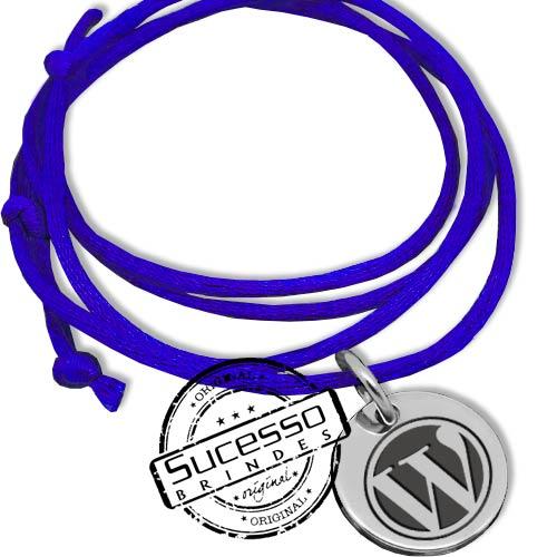 cordão encerado com pingente wordpress, informática, computador, linguagem, site, colar