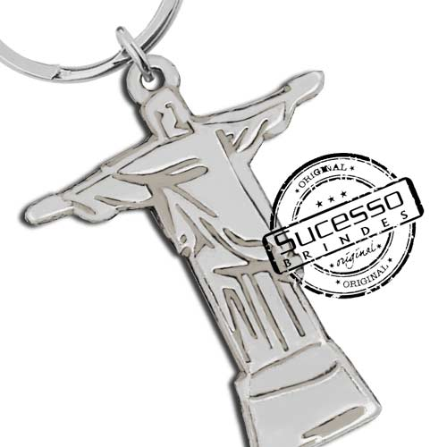Chaveiro em metal com relevo personalizado, igreja, jesus, cristo, deus, cristão, religião, religioso, rio de janeiro