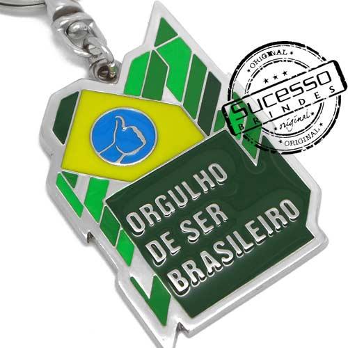Chaveiro em Metal Esmaltado, Prateado, Orgulho de ser Brasileiro