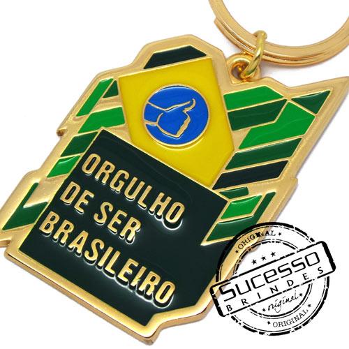 Chaveiro em Metal Esmaltado, Dourado, Orgulho de ser Brasileiro