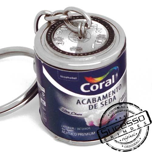 Chaveiro em metal réplica de lata ou latinha 3D lata galão, Coral