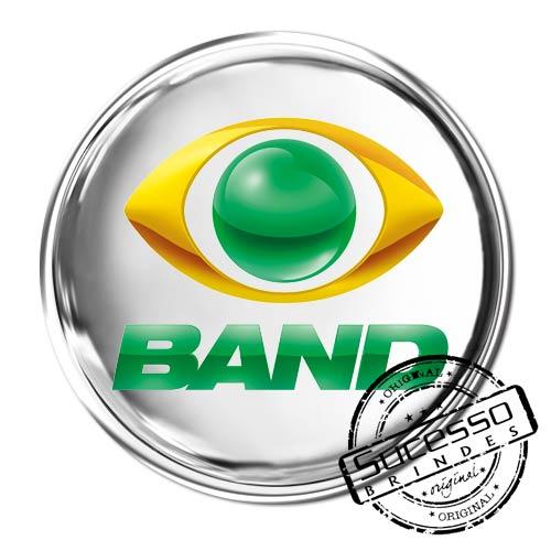 Pin em Metal Adesivado, Modelos padrão, broche, redondo, Tv, Televisão, Emissora, Band, Esportes