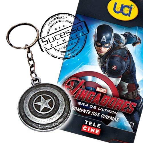 Projeto Especial cinema, filme, movie, brinde para cinemabrindes, os vingadores, avengers, uci, chaveiro, capitão américa