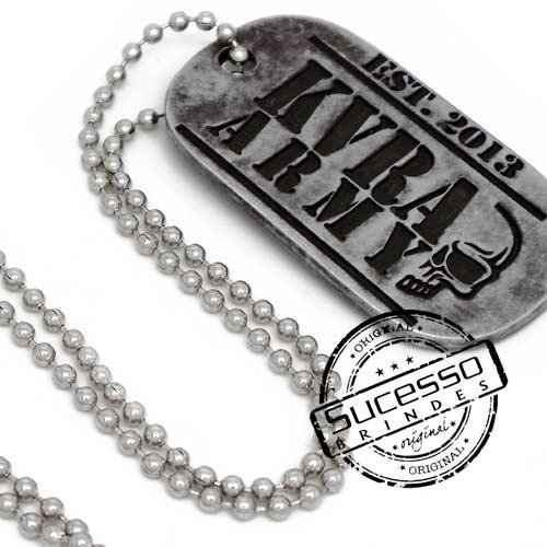 Pingente personalizado tag placa do exército com corrente de bolinha