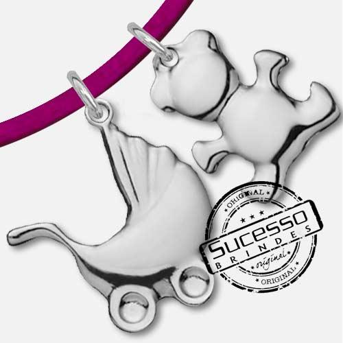 Colar, Cordão ou corrente com pingente personalizado infantil carrinho e ursinho de bebê