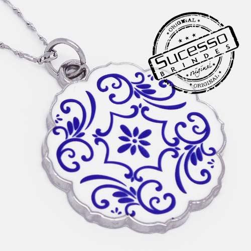 Colar, Cordão ou corrente com pingente personalizado cerâmica Azulejo