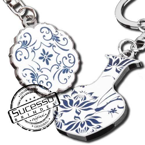 Chaveiro em metal adesivado azulejo ou cerâmica