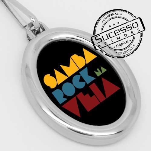 Chaveiro em metal adesivado Samba Rock música ou musical