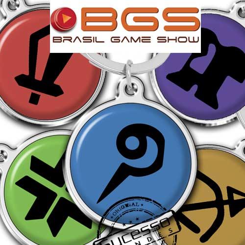 Chaveiro em metal adesivado game feira Brasil Game Show