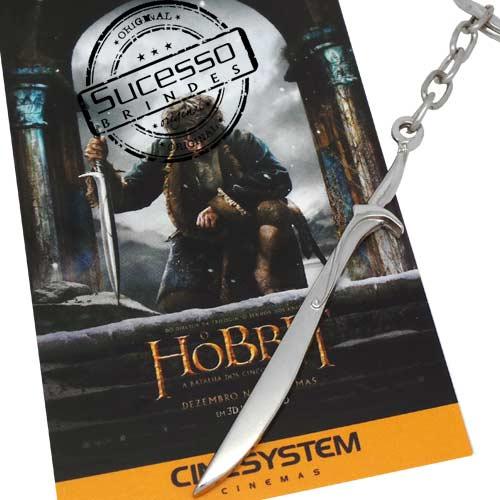 Chaveiro em metal com relevo 3D personalizado espada do filme Hobbit
