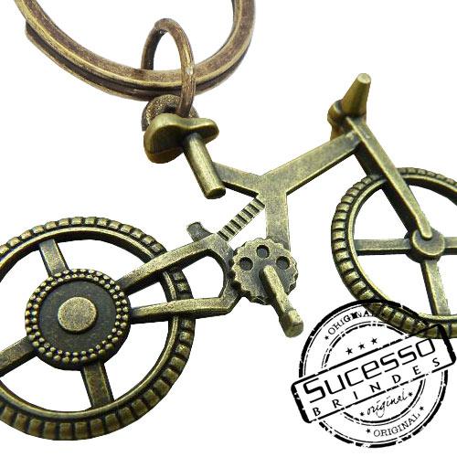 Chaveiro em Metal Envelhecido com logo em relevo bicicleta bike esporte