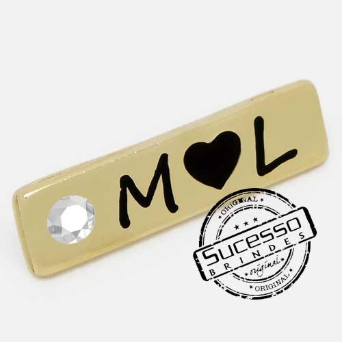 Pin Esmaltado ou Resinado em metal de Lapela, botton, broche com alfinete, com trava borboleta personalizado, strass, ML