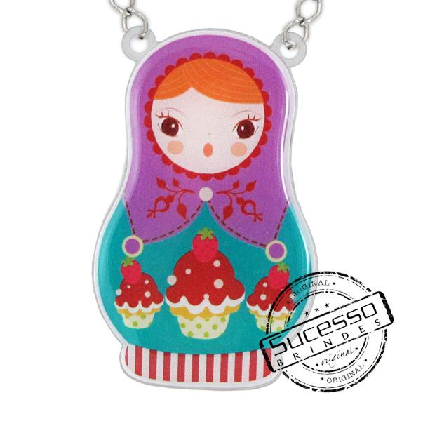 Colar Alice Disse, boneca, personagem, babusca, semi joia, bijuteria personalizada, pingente, boneca Russa
