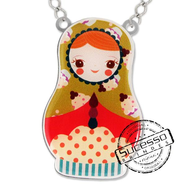 Colar Alice Disse, boneca, personagem, babusca, bijuteria personalizada, pingente, boneca Russa