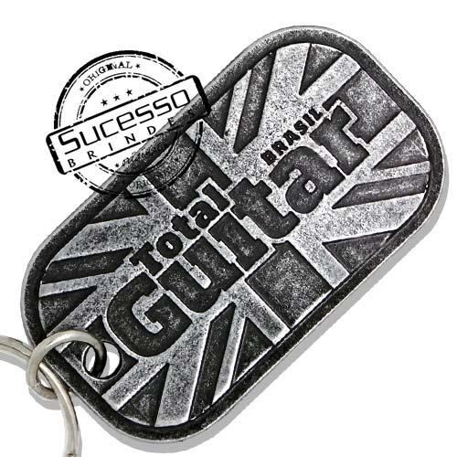 Chaveiro tag pingente placa de exército com corrente de bolinha ou argola, guitar, inglaterra, londres, revista, total guitar
