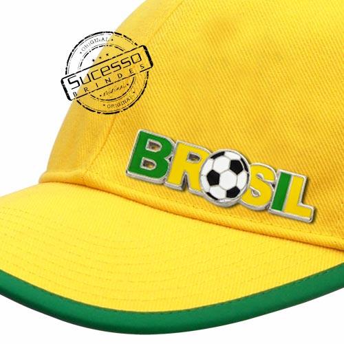 PLAQUETA EM METAL COM REBITE PARA BONÉ DO BRASIL