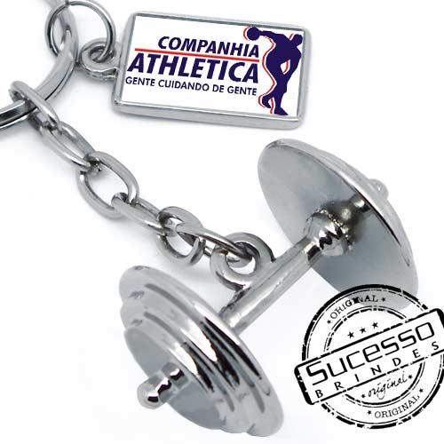 Chaveiro Academia Peso Halteres miniatura réplica 3D, Cia Atlética