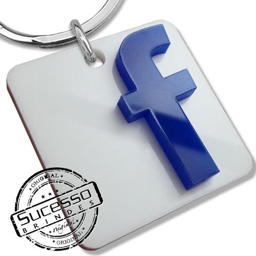 Chaveiro em acrílico cortado a laser, brinde, promocional, personalizado, logo ou logomarca icone facebook face