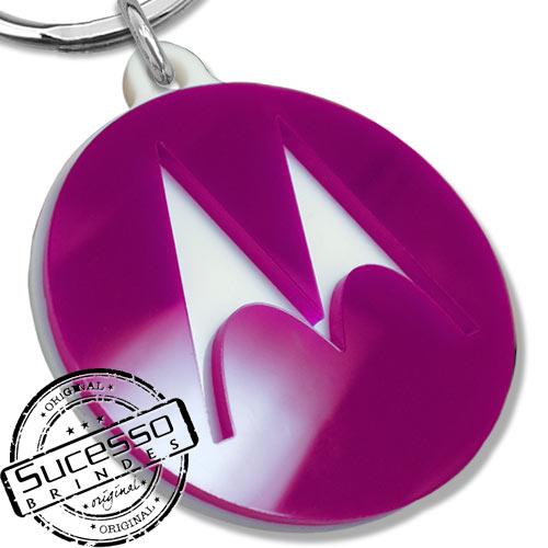 Chaveiro em acrílico cortado a laser, brinde, promocional, personalizado, logo ou logomarca Motorola