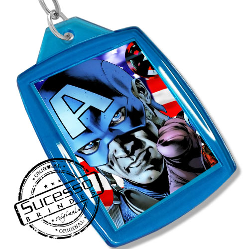 Chaveiro, Chaveiros porta foto 3X4, para fotografia, personalizado filme, desenho Capitão América Marvel, azul