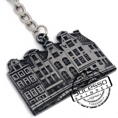 Chaveiro em Metal Envelhecido com logo em relevo, colégio, predio, amsterdam, turismo