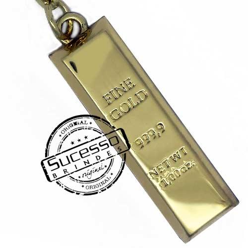 Chaveiro 3d réplica miniatura de barra de ouro