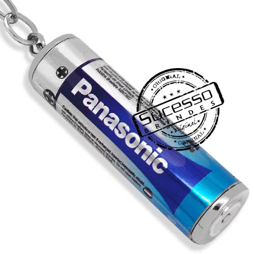 Chaveiro 3d réplica miniatura de pilha Panasonico