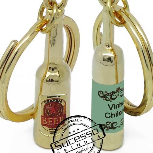 Chaveiro 3d réplica miniatura de garrafa de vinho, cerveja, refrigerante