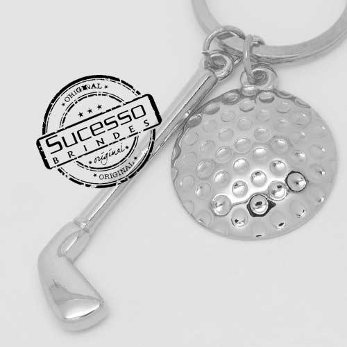 Chaveiro em metal 3D bola e taco de golf