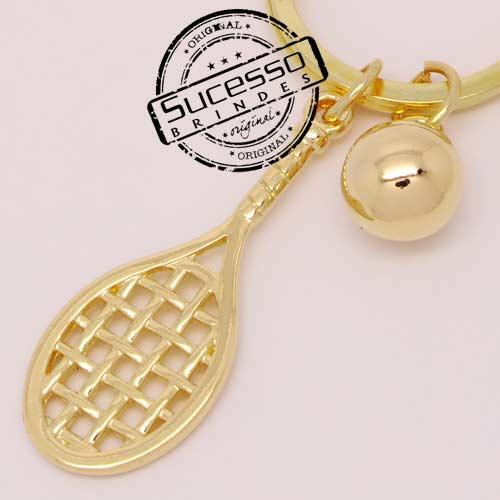 Chaveiro em metal 3D raquete de tênis