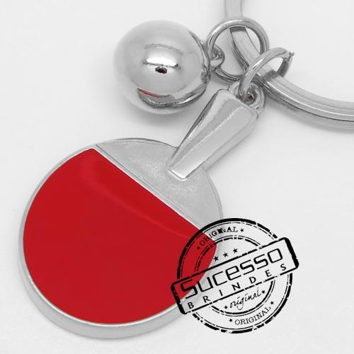 Chaveiro em metal 3D raquete de ping pong