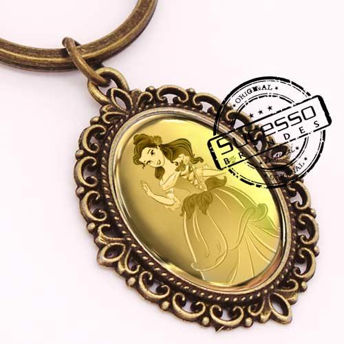 Chaveiro em Metal Envelhecido com logo em relevo camafeu princesa
