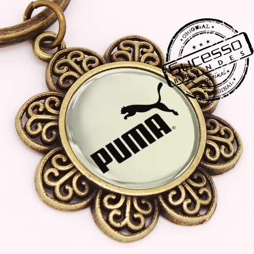 Chaveiro em Metal Envelhecido com logo em relevo Puma