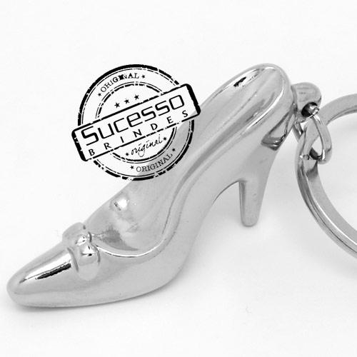 Chaveiro 3d réplica em metal sapato de salto princesa