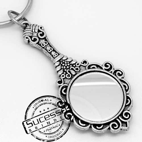 Chaveiro 3d réplica em metal mini espelho de mão de princesa com chave