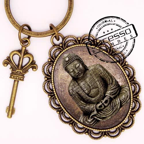 Chaveiro em Metal Envelhecido com logo em relevo Buda com chave