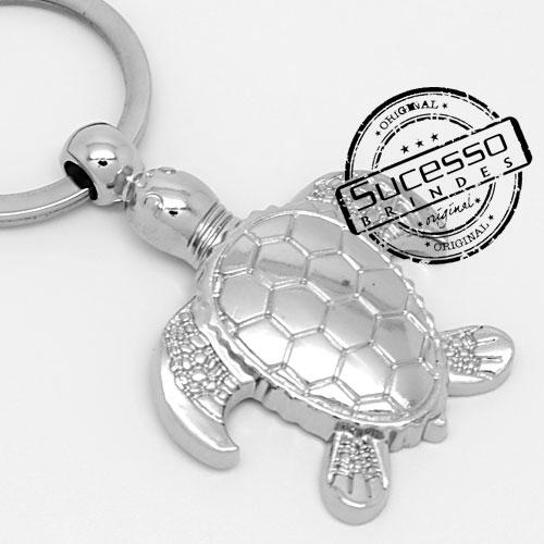 Chaveiro 3d réplica em metal tartaruga