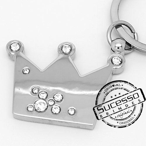 Chaveiro 3d réplica em metal coroa de princesa com strass