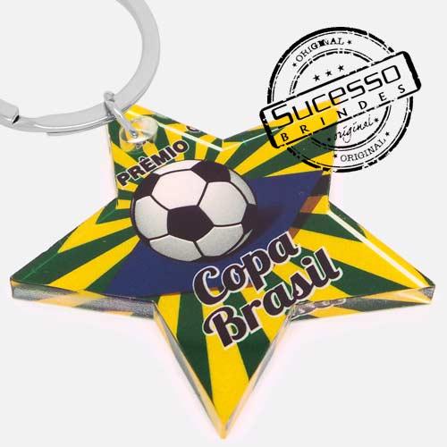 Chaveiro em acrílico recortado a laser estrela futebol Brasil com impressão uv