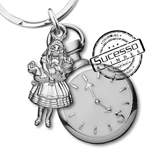 Chaveiro 3d réplica em metal a bela adormecida e relógio