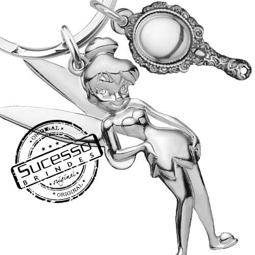 Chaveiro 3d réplica em metal Disney fada sininho mini espelho de mão