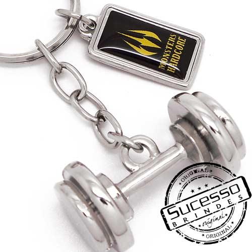 Chaveiro 3d réplica em metal halteres peso de academia