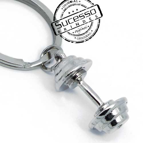 Chaveiro 3d réplica em metal Halteres peso de acamemia
