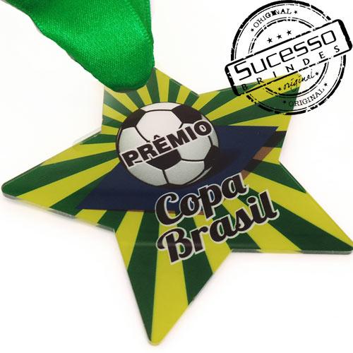 Medalha em acrílico para premiação de competições Copa Brasil Estrela