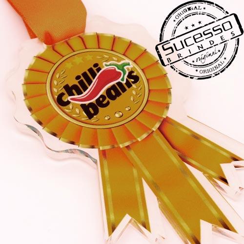 Medalha em acrílico para premiação de competições Chilli Beans