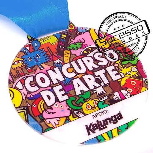 Medalha em acrílico para premiação de competições Concurso Kalunga