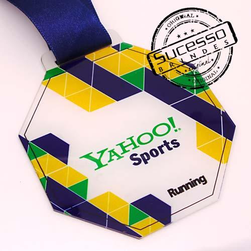 Medalha em acrílico para premiação de competições Yahoo