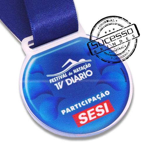 Medalha em acrílico para premiação de competições Sesi